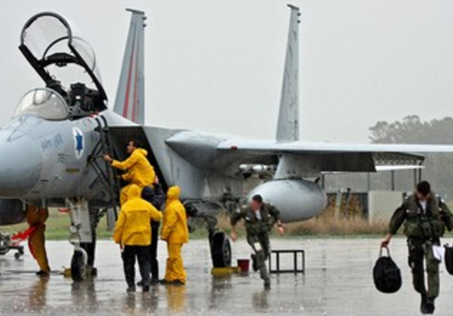 IAF fighter jet crew in the rain