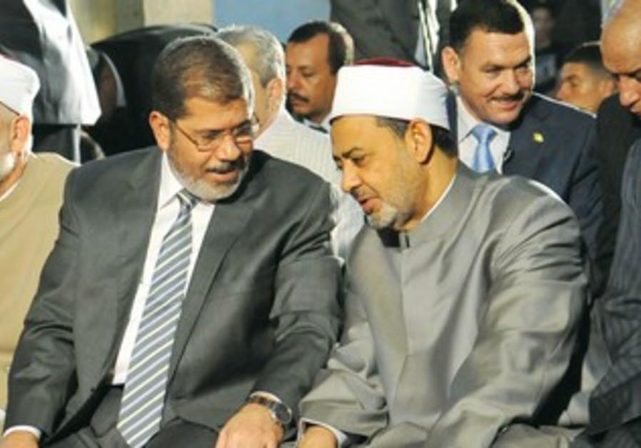 Egyptian Pres. Morsi with Grand Sheikh El-Tayeb