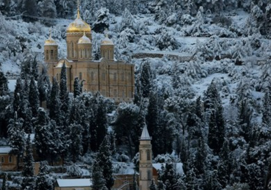 Snow covers the Russian Church, Jerusalem.