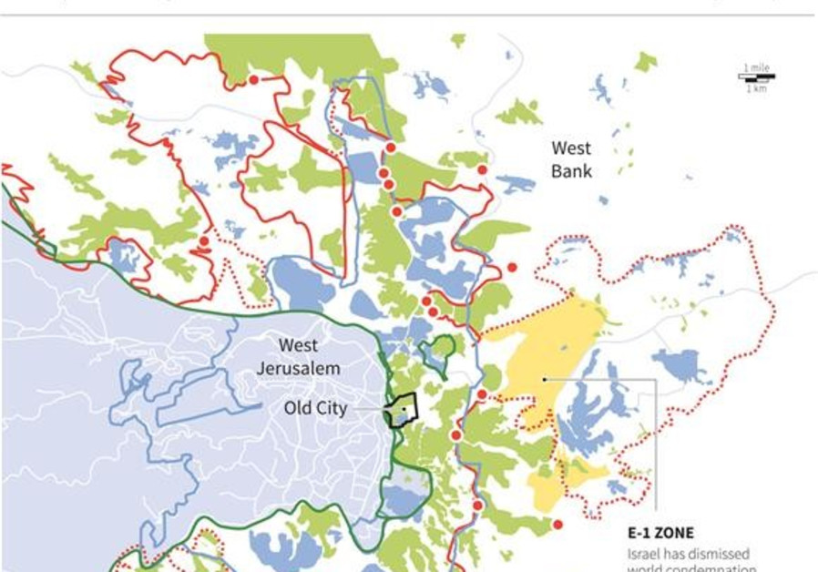 Map of Jerusalem and the West Bank.