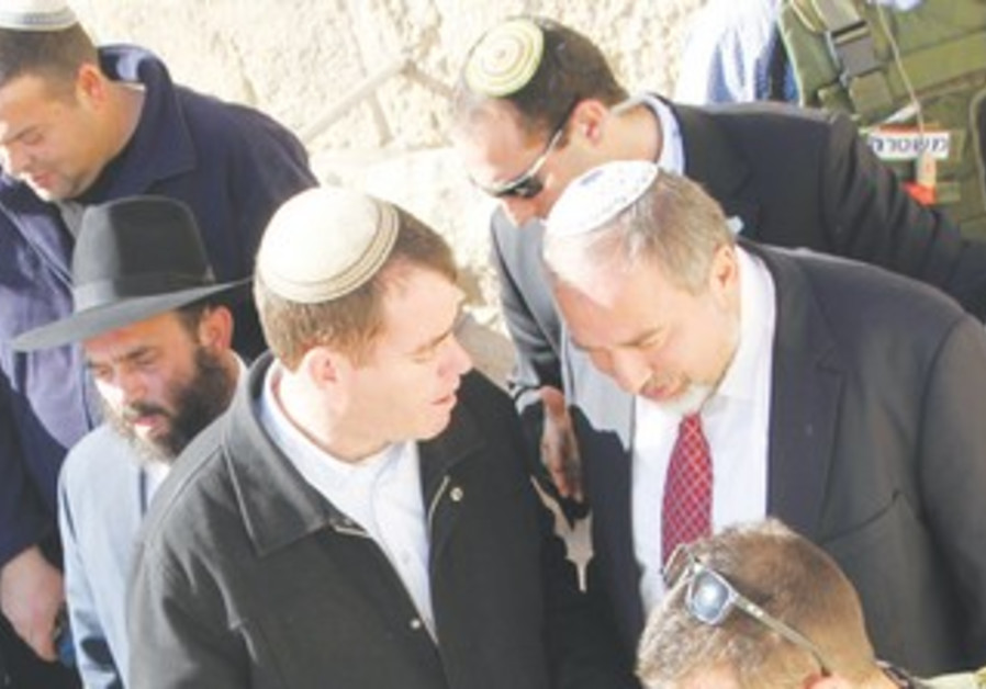 Liberman at Cave of the Patriarchs in Hebron