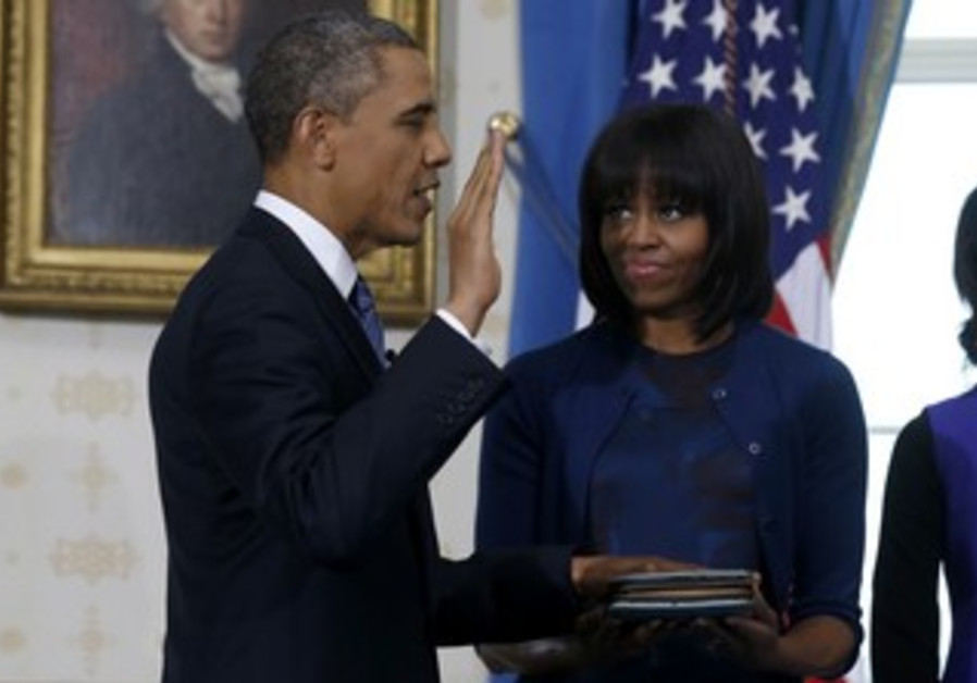 US President Barack Obama being sworn in to 2nd term, January 20, 2013.