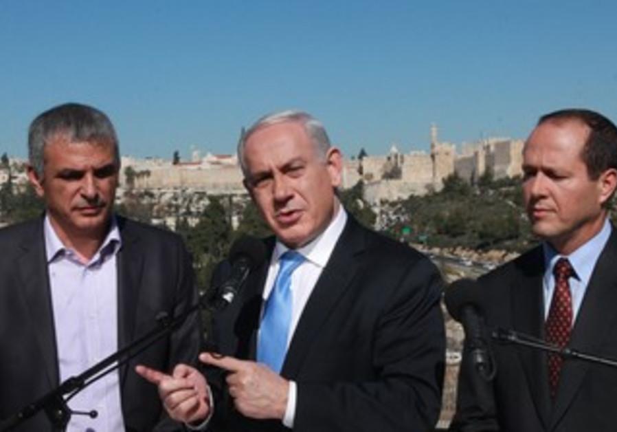 Netanyahu, Kahlon, Barkat in Jerusalem, Jan. 21, 2013