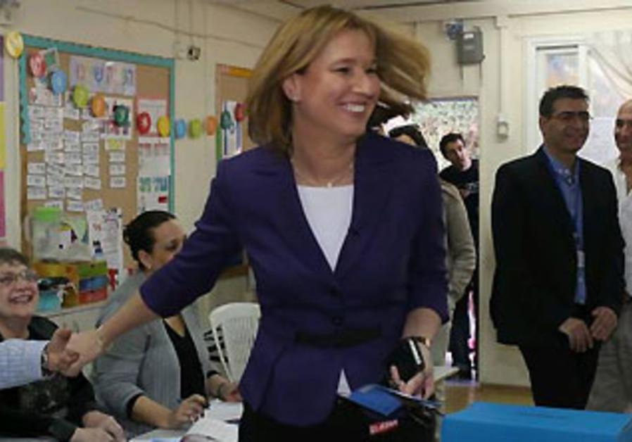 Tzipi Livni votes in Tel Aviv on Election Day, January 22, 2013.
