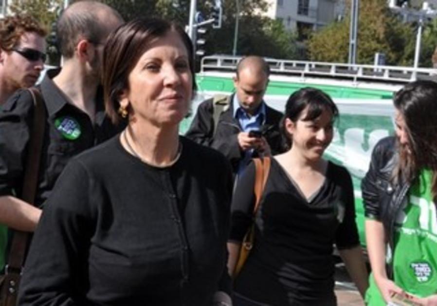 Meretz leader Zehava Gal-On with activists