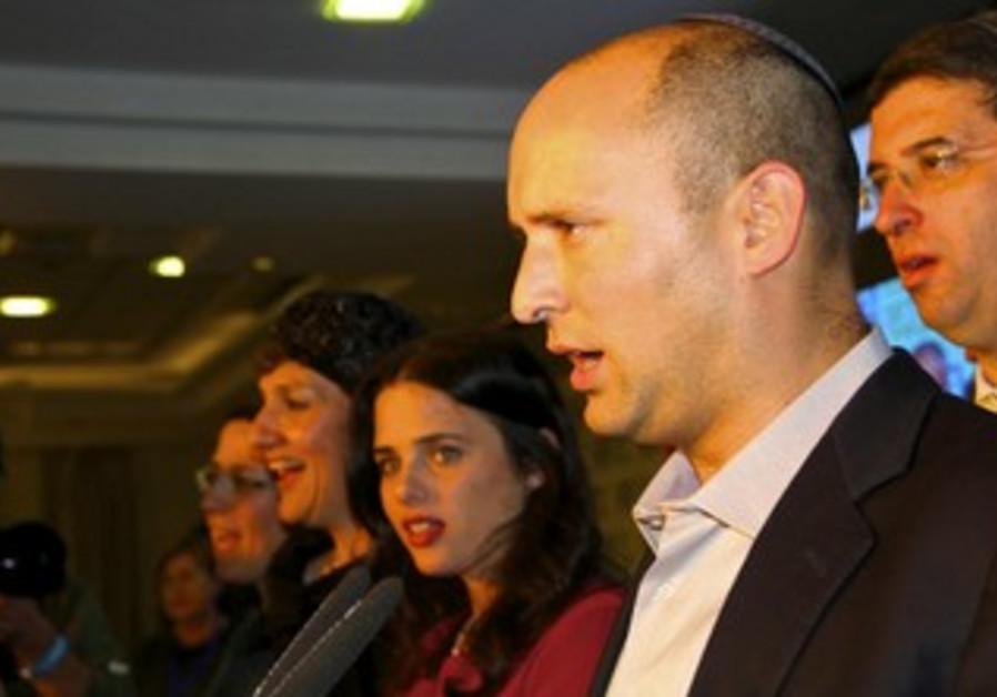 Bayit Yehudi head Naftali Bennett makes post-election speech at Kfar Maccabia, January 22, 2013.