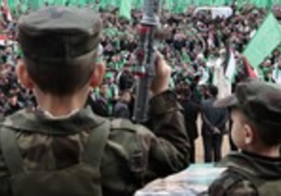 Niños palestinos celebran la fundación de Hamas, 8 de diciembre de 2012
