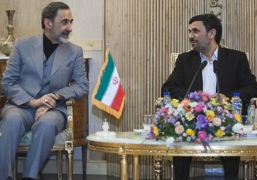 Khamenei's aide Ali Akbar Velayati with Iranian President Mahmoud Ahmadinejad, January 14, 2012.