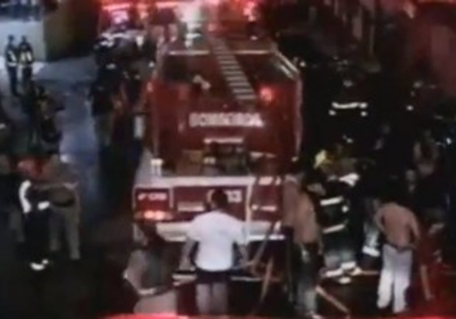 Fire engine at the scene of the nightclub fire in Brazil