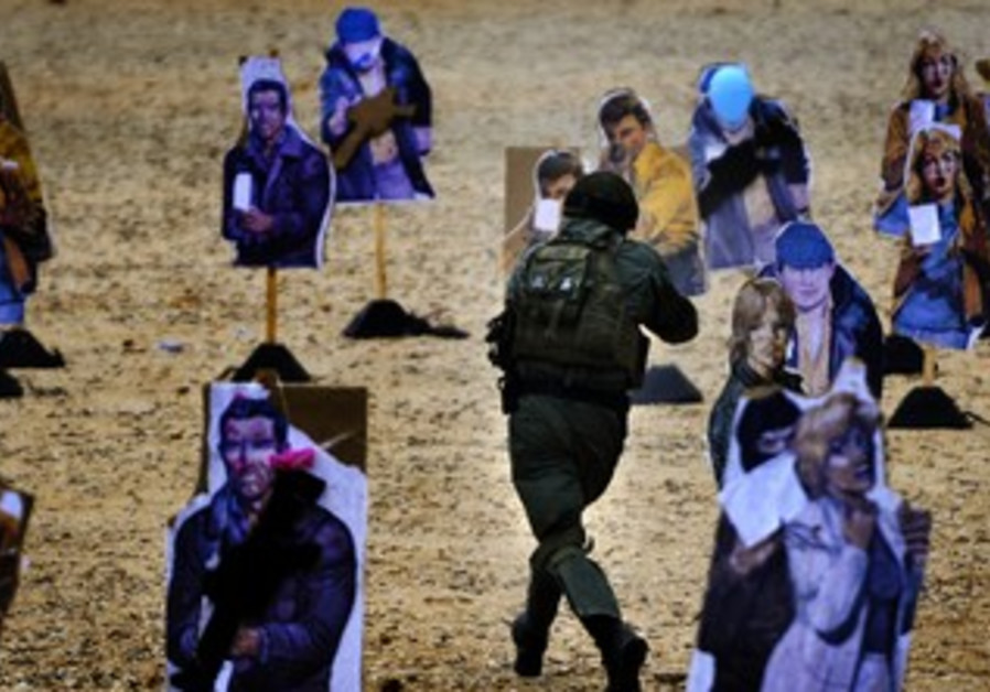 Border police training at the West Bank settlement of Beit Horon, January 27, 2013.