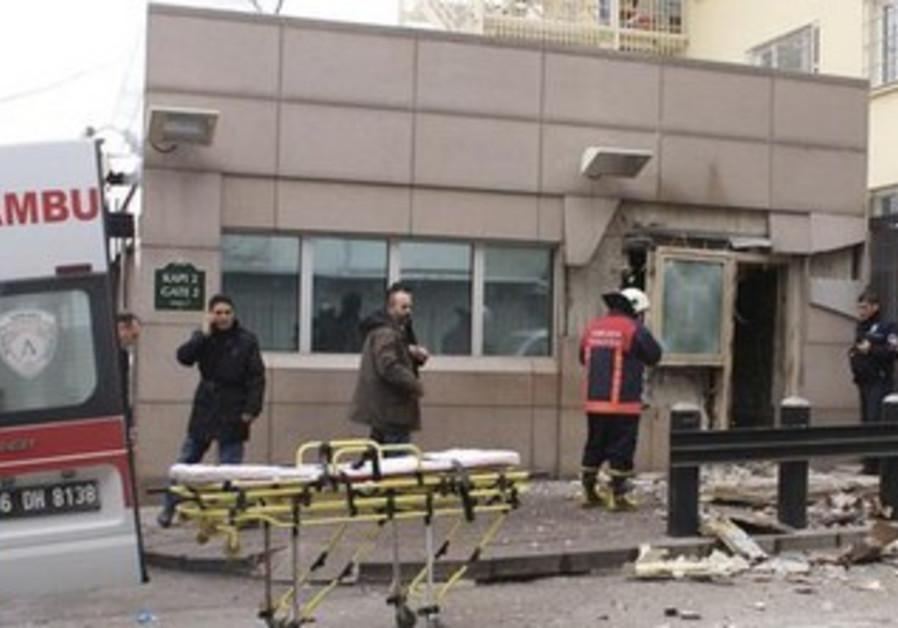 Blast at US embassy in Ankara, February 1, 2013.