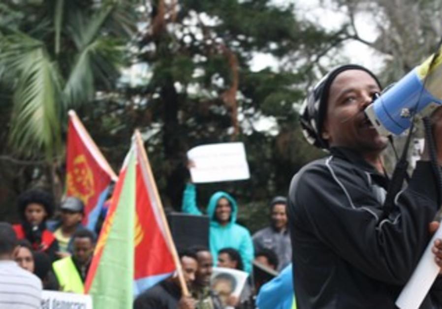 Eritrean migrants protesting, Feb. 1, 2013