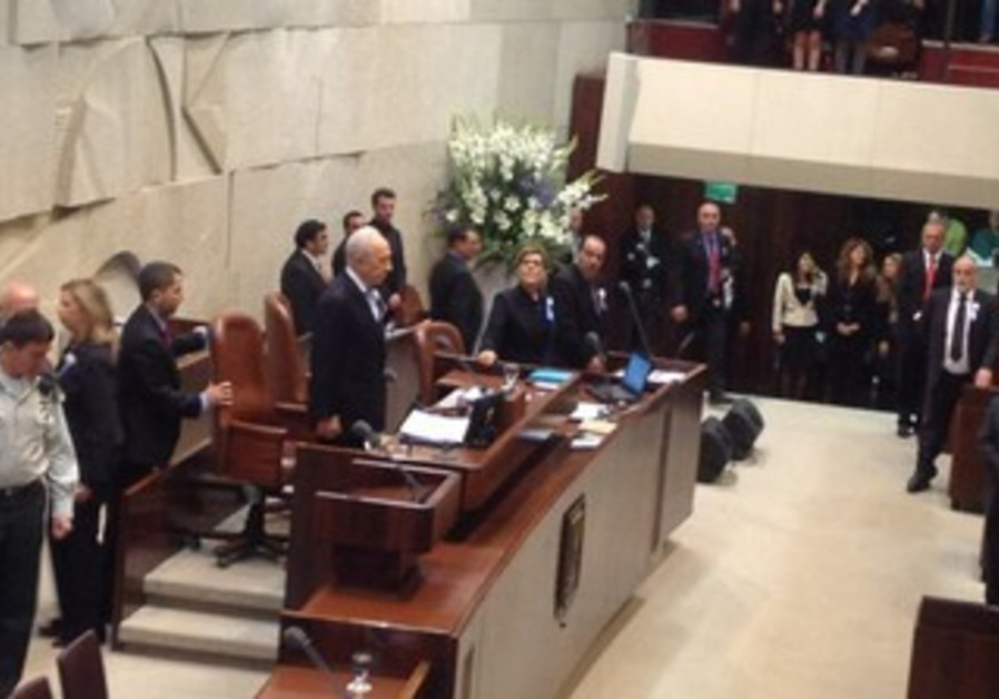 Presiddnt Peres at 19th Knesset opening ceremony
