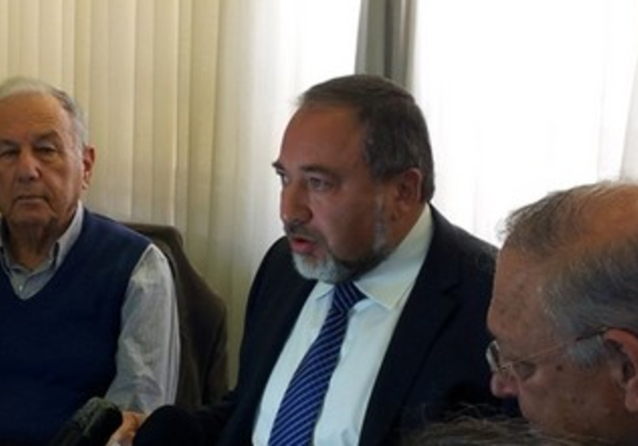 Liberman at Knesset press conference, February 10, 2013