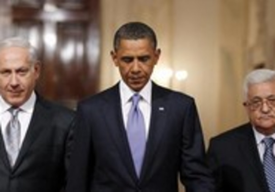 US President Obama with Prime Minister Netanyahu and PA President Abbas, September 1, 2010.