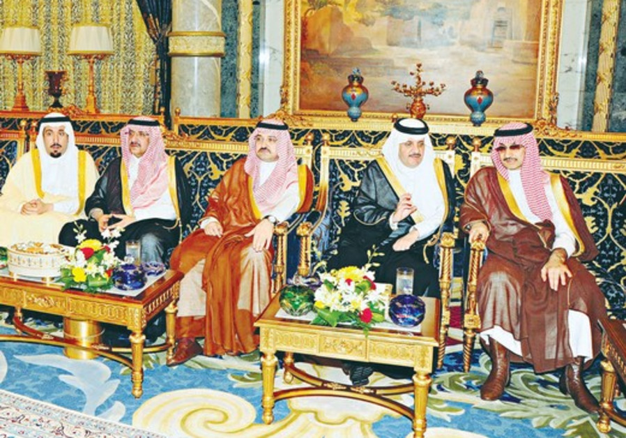 SAUDI PRINCES in a meeting at the Royal Palace in Jeddah