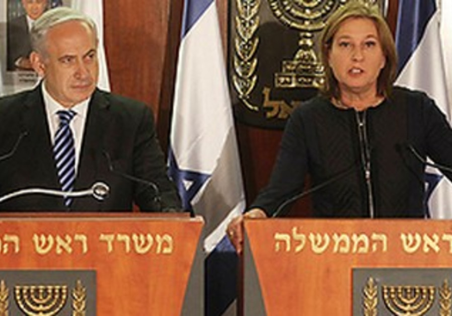 PM Netanyahu and  MK Tzipi Livni announcing coalition agreement on February 19, 2013