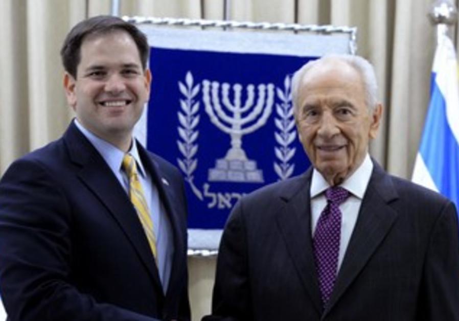 President Shimon Peres meets with US Senator Marco Rubio, February 20, 2013.