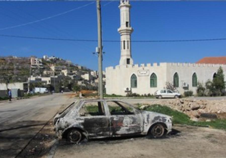 Jewish extremists vandalized six cars in the Palestinian village of Kusra, February 21, 2013.
