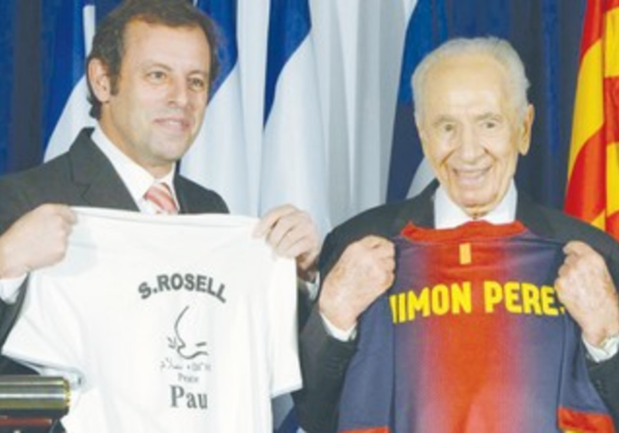 Peres and Barcelona President Rosell