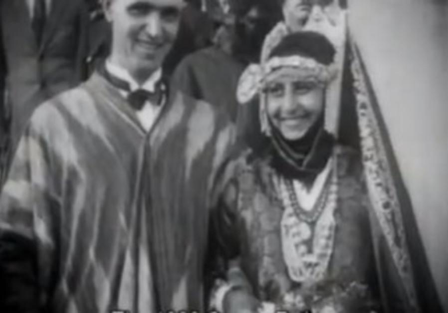 Tel Aviv Mayor Meir Dizengoff with Queen Esther 1928, Tzipora Tzabari.