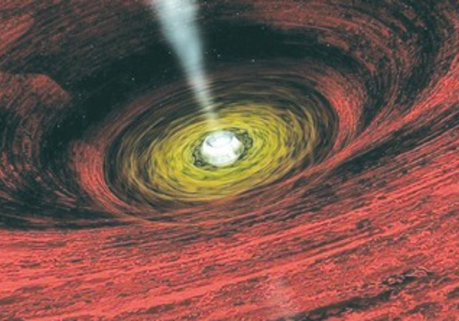 GIANT BLACK hole in the center of a far-off galaxy
