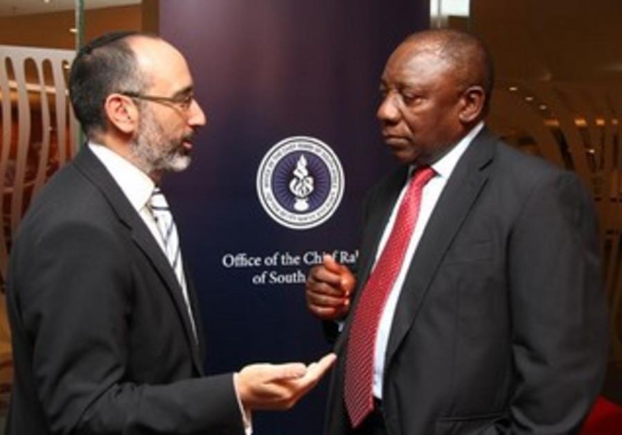 SOUTH AFRICAN Chief Rabbi Warren Goldstein and ANC Deputy President Cyril Ramaphosa.