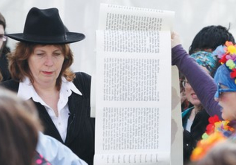 ANAT HOFFMAN, founder of Women of the Wall, is dressed as a yeshiva student, Purim 2013.