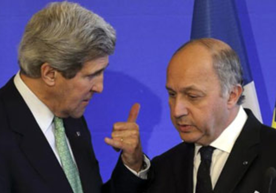 John Kerry and his French counterpart meeting in Paris, Feb. 27, 2013.