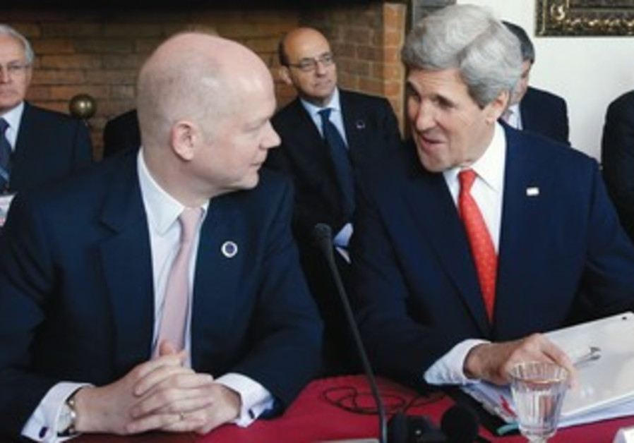 US Secretary of State John Kerry meeting with UK Foreign Secretary William Hague in Rome.