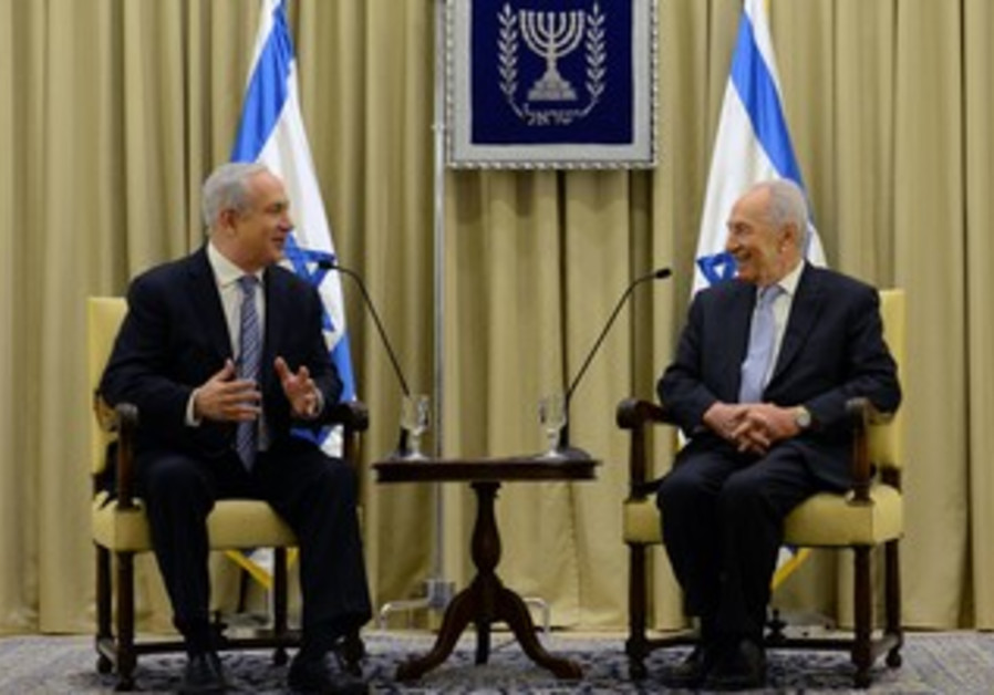 Netanyahu and Peres at President's Residence, March 2