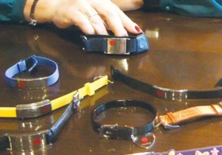 Medical bracelets on display.