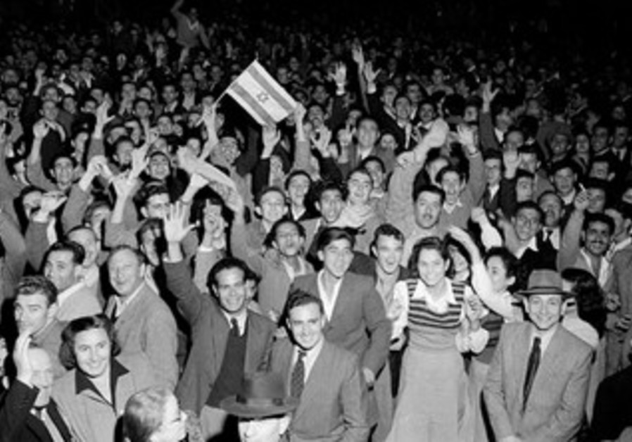 Jewish multitudes rejoiced in the streets after the UN vote on a Jewish state, November 29, 1947.