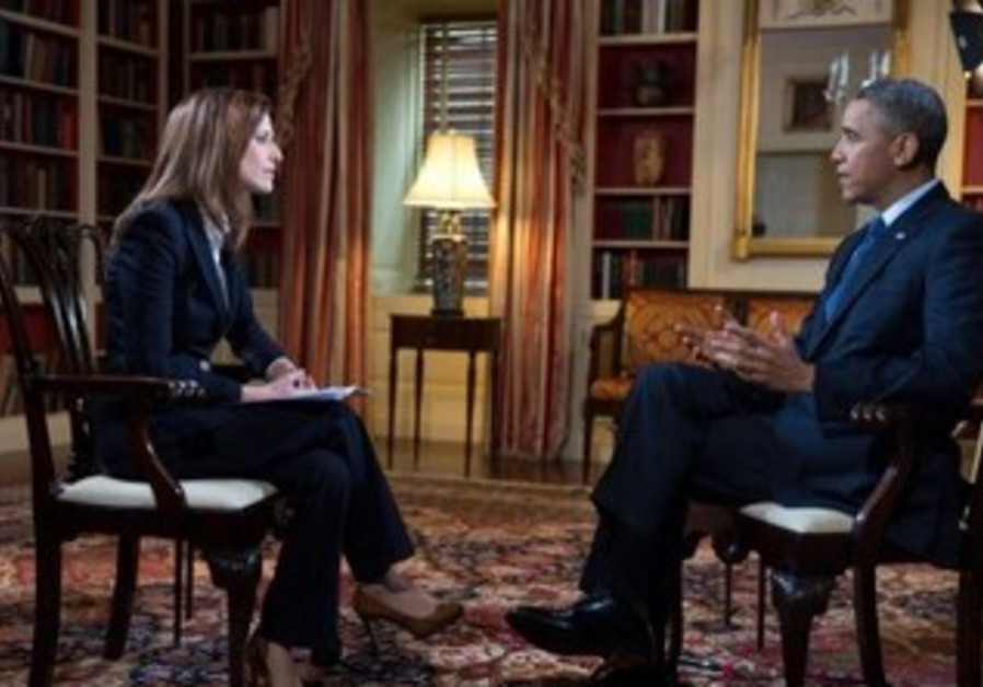 US President Barack Obama being interviewed by Channel 2's Yonit Levy