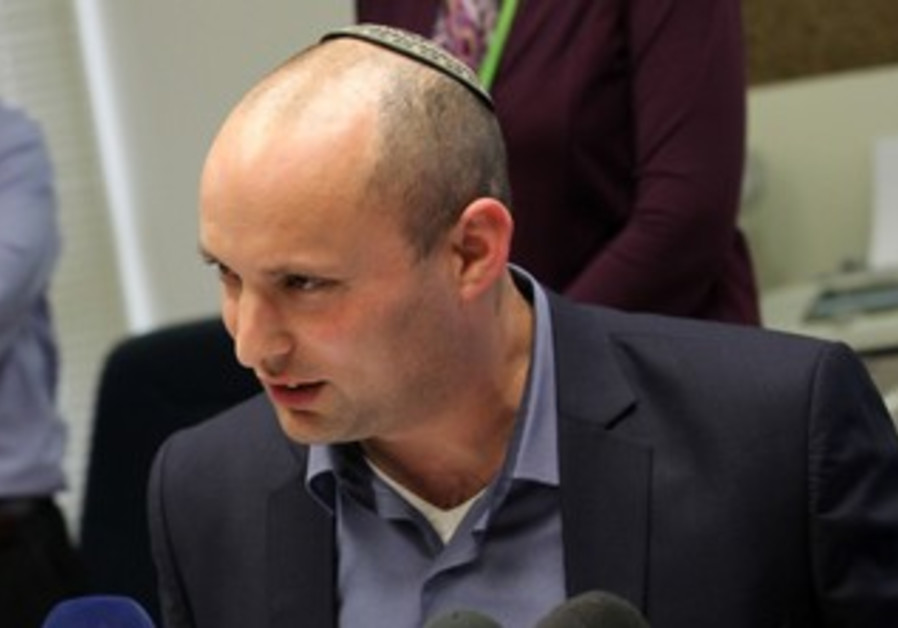Naftali Bennett at a Bayit Yehudi faction meeting, February 18, 2013.