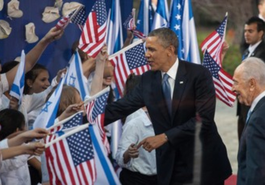US President Obama and President Peres at the president's residence, March 20, 2013.