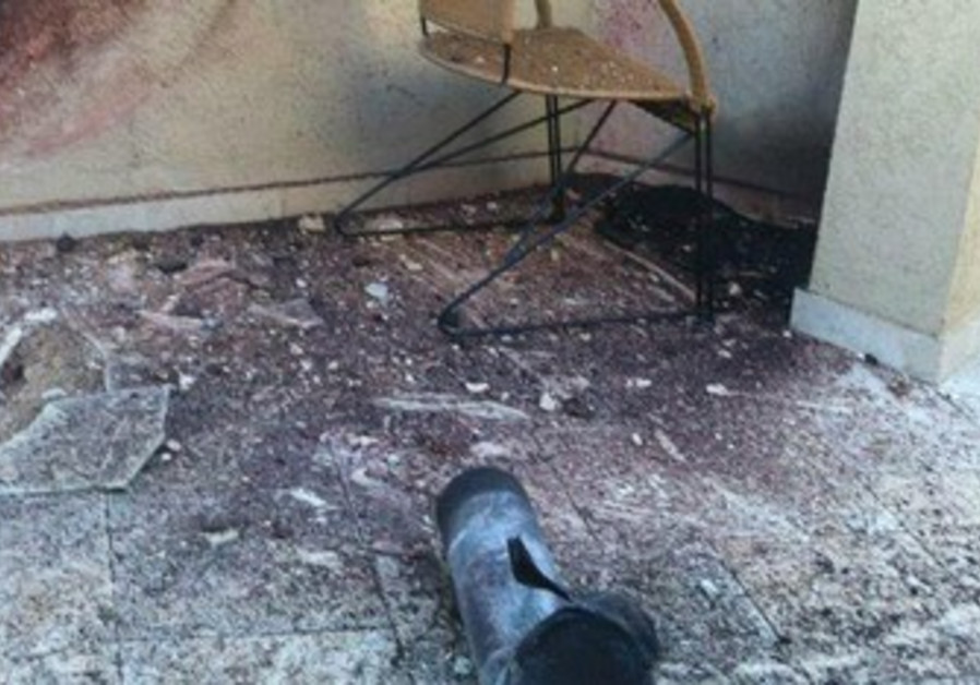 Rocket fired from Gaza that landed in a home in Sderot, March 21, 2013.
