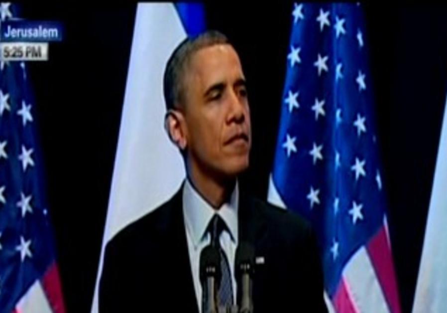 US President Barack Obama makes speech