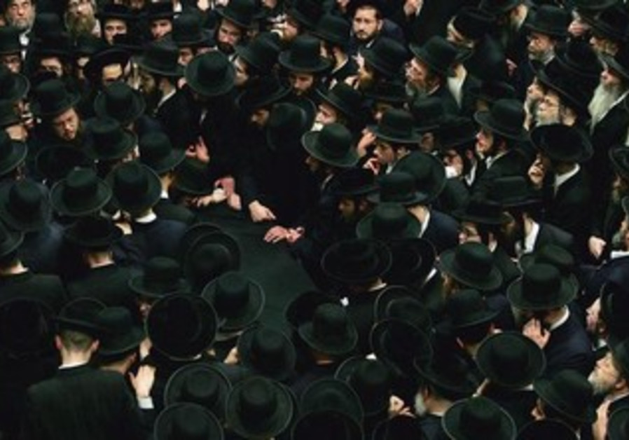 American Hassidic Jews at a funeral [illustrative]