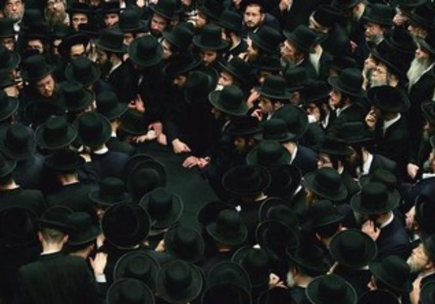 American Hassidic Jews at a funeral [illustrative]