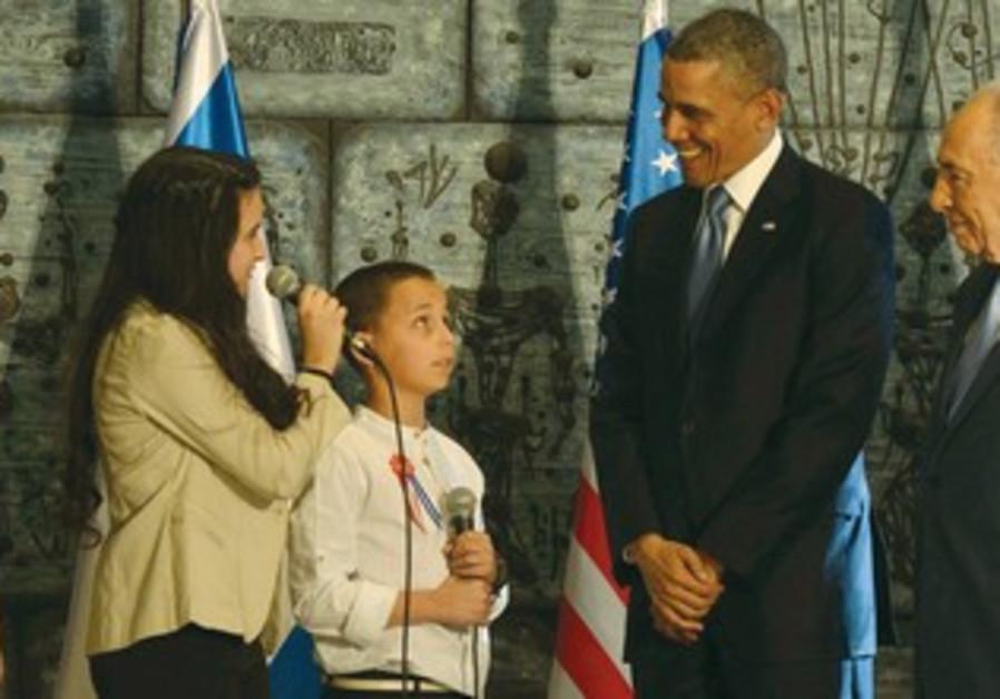 NICOLE UZLANER talks to US President Barack Obama at the President's Residence