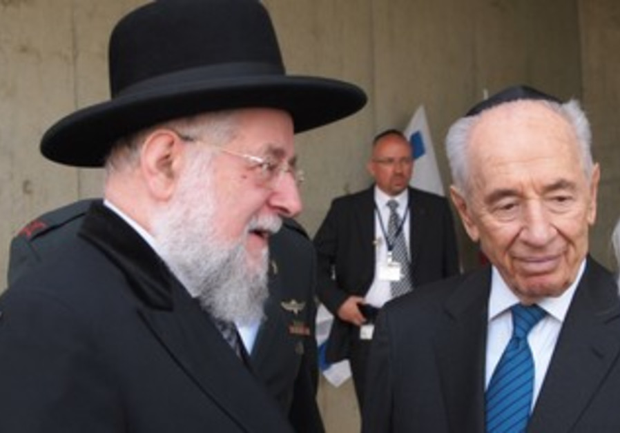 Chief Rabbi of Tel Aviv Yisrael Meir Lau with President Shimon Peres