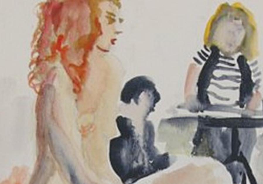 Portrait of woman painted by Barbara Goldschmidt.