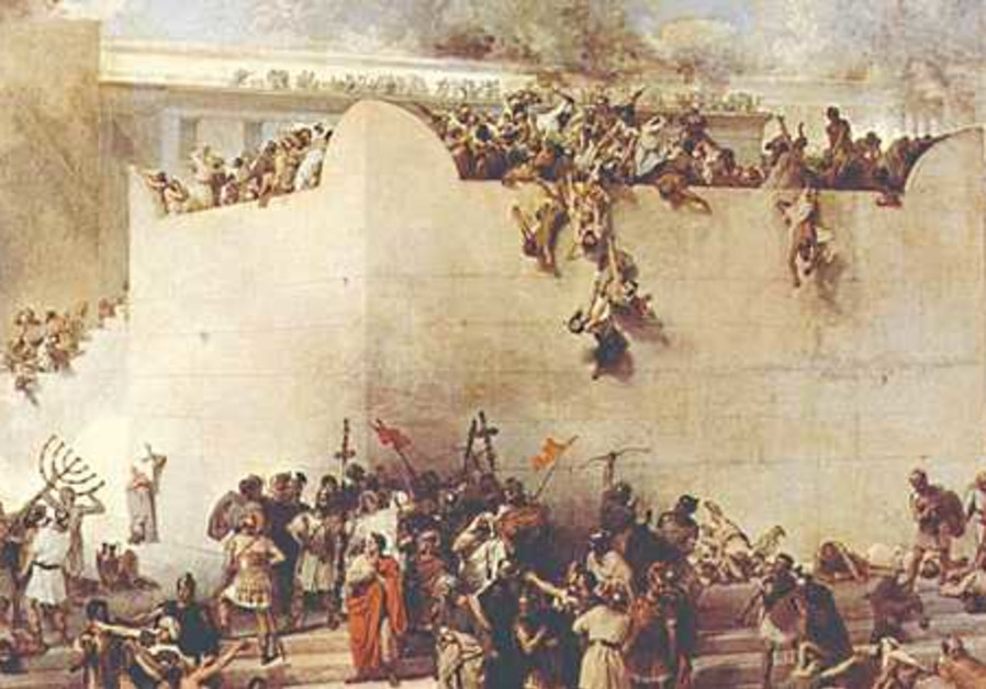 THE DESTRUCTION of the Temple of Jerusalem, depicted in an oil painting by Francesco Hayez