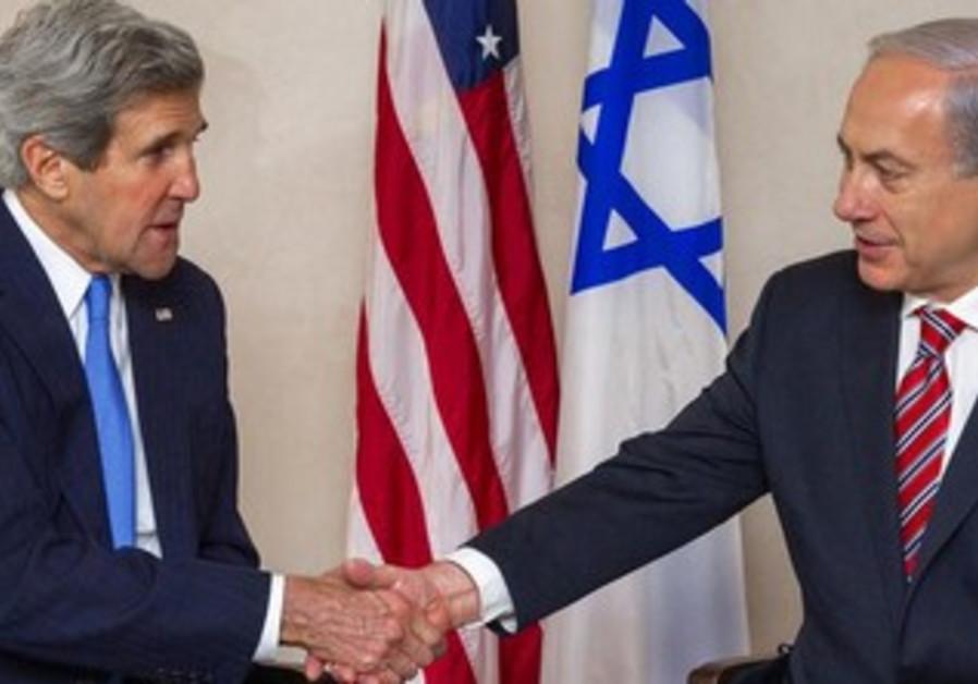 John Kerry and Binyamin Netanyahu meeting in Jerusalem, April 9, 2013.