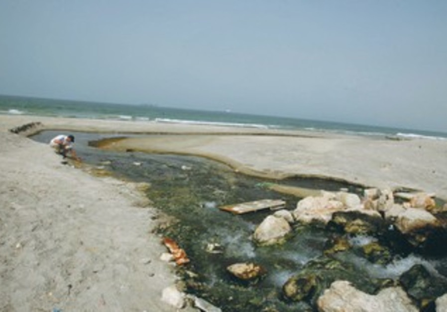 INTO THE SEA: Ezer Fishler, from the environmental group Zalul, kneels beside sewage flow.