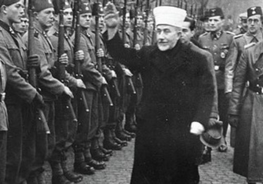 HAJ AMIN el-Husseini visits his Bosnian recruits to the Muslim Handzar SS Division.