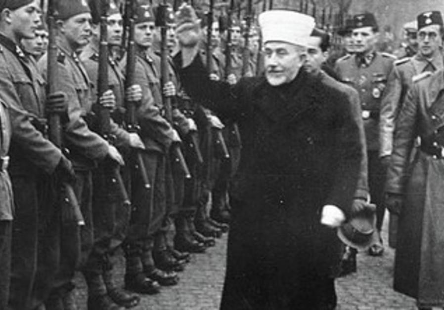 HAJ AMIN el-Husseini visits his Bosnian recruits to the Muslim Handzar SS Division.