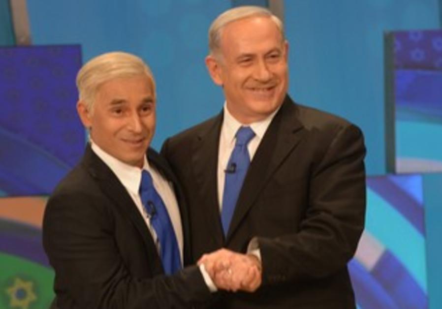 Actor Mariano Eidelman, Prime Minister Binyamin Netanyahu at Eretz Nehedert filming, April 11, 2013.