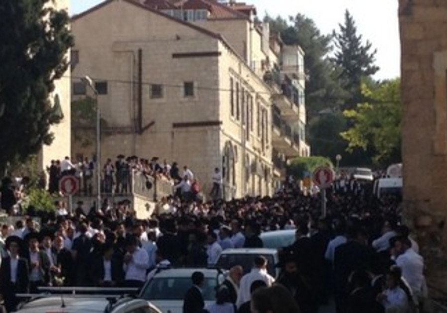 Funeral procession of Rabbi Yaakov Yosef in Jerusalem, April 12
